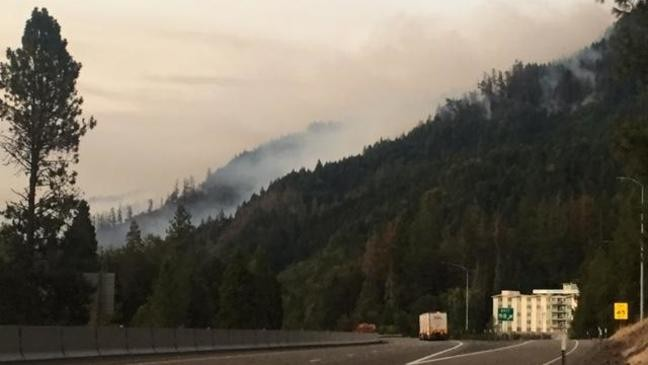 I-5 southbound slow lane, exit closed near Milepost 97 Fire